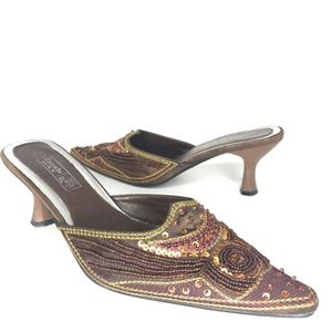 Beauty Max Shoes - Beauty Max Brown Sequined Pointy Heels SH0578